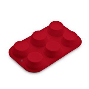 Forma de Silicone para Cupcake 6 Cavidades Vermelha UP Home - UD152
