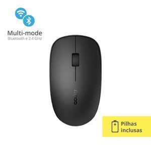 Mouse Rapoo Bluetooth + 2.4 ghz Black 5 Anos de Garantia Pilha Inclusa - RA011